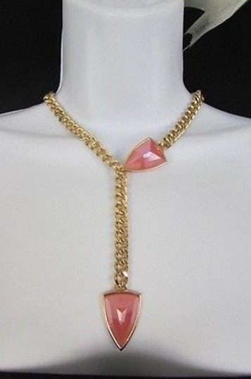 Other Women 16 Long Gold Metal Chains Big Pink Beads Fashion Necklace Earrings