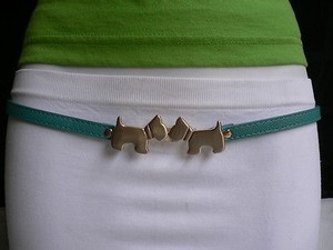 Other Women Belt Fashion Trendy Aqua Thin Gold Metal Double Dog Buckle 30-35