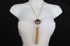 Other Women 26 Long Gold Metal Chains Fashion Necklace Big Ball Black Dots Fringe