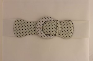 Women Belt Elastic White Polka Dots Fashion Hip High Waist Round Buckle