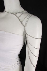 Other Women Silver Metal One Side Shoulder Body Chain Necklace Fashion Jewelry