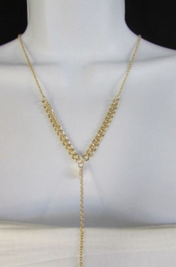 Other Women Necklace Fashion Circles Neck Gold Metal Body Chain Thin Long Jewelry