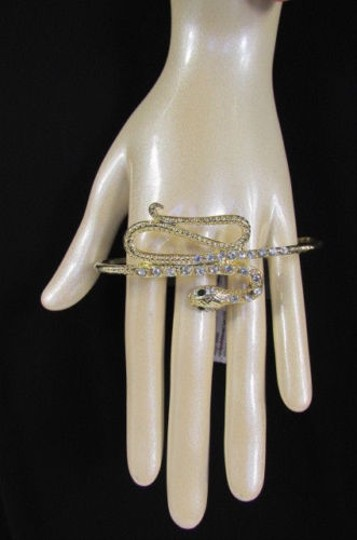 Other Women Ring Fashion Gold Snake Metal Full Hand Wide 1 Silver Rhinestones
