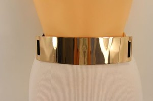 Other Women Belt Black Elastic Gold Metal Mirror Plate Fashion Hip High Waist Wide