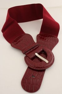 Other Women Belt Elastic Dark Burgundy Red Fashion Hip High Waist Round Buckle