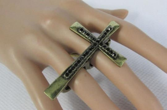 Other Women Ring Fashion Big Antique Gold Cross Metal Elastic Band Two Fingers