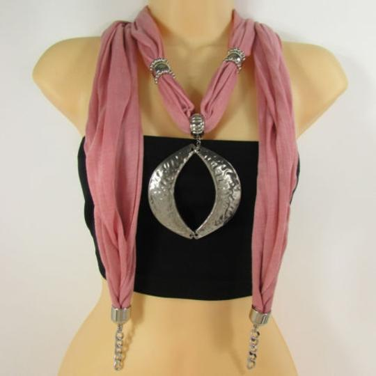 Preload https://item4.tradesy.com/images/trendy-women-necklace-light-pink-fabric-scarf-big-silver-metal-pendant-fringes-4284028-0-0.jpg?width=440&height=440