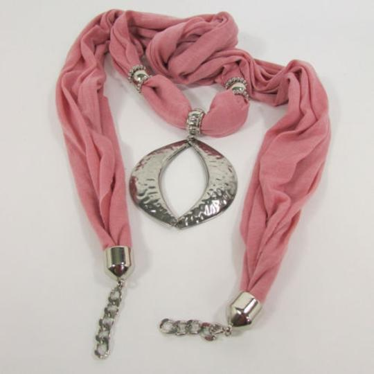 Other Trendy Women Necklace Light Pink Fabric Scarf Big Silver Metal Pendant Fringes