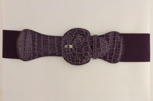 Other Women Belt Wide Elastic Dark Purple Fashion Hip High Waist Round Buckle