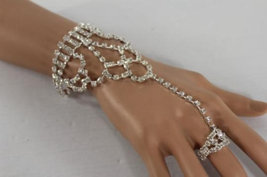 Other Women Silver Rhinestones Wide Slave Ring Fashion Bracelet Hand Chain Jewelry
