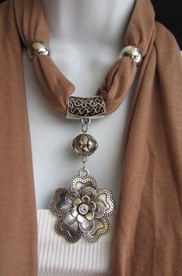 Other Women Scarf Fashion Soft Fabric Big Silver Flower Pendant Black Red Brown