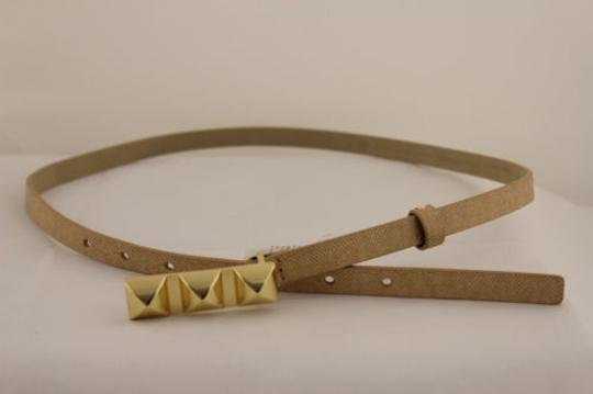 Banana Republic Banana Republic Women Narrow Skinny Belt Beige Faux Leather Gold Buckle