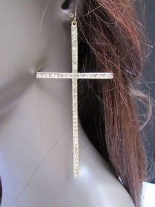 Women Long Gold Metal Fashion Cross Earrings Set 4.5 Multi Rhinestones