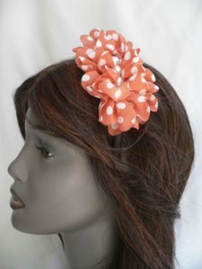 Other Women Headband Soft Orange White Polka Dots Thin Adjustable