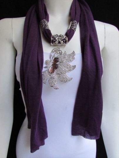 Preload https://item5.tradesy.com/images/women-purple-fabric-fashion-scarf-long-necklace-big-silver-butterfly-pendant-4284094-0-0.jpg?width=440&height=440