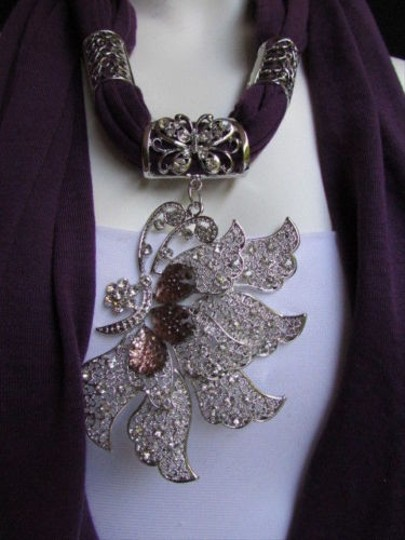 Other Women Purple Fabric Fashion Scarf Long Necklace Big Silver Butterfly Pendant