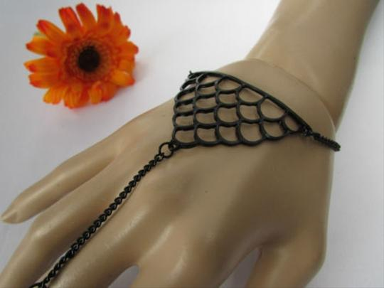 Other Women Bracelet Fashion Black Metal Retro Slave 8 Chains Ring Connected