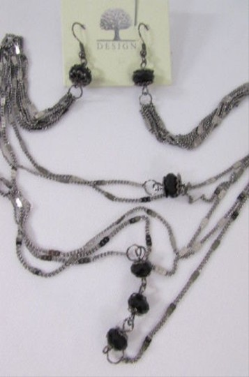 Other Women Long Metal Chains Fashion Jewelry Earrings Set Connected Necklace Beads