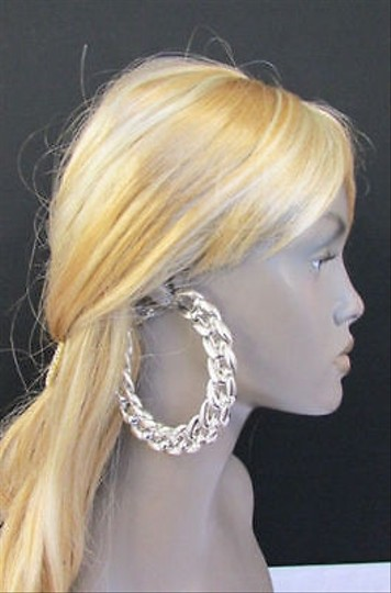 Other Women Chain Fashion Jewelry Metal Hoops Big Hook Earrings Silver Gold