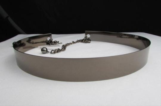 Other Women Belt Metal Pewter Mirror Full Plate Fashion High Waist Thin Celebrity