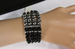 Women Elastic Bracelet Fashion Jewelry Pewter Black Imitation Pearl Beads
