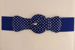 Other Women Belt Elastic Blue Polka Dots Fashion Hip High Waist Round Buckle