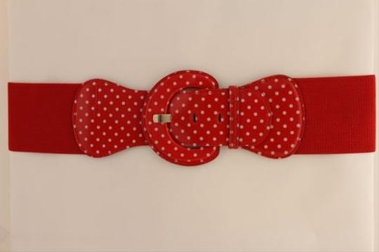 Other Women Belt Elastic Red Polka Dots Fashion Hip High Waist Round Buckle