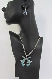 Women 16 Turquoise Beads Chains Necklace Western Metal Pistol Gun Pendant