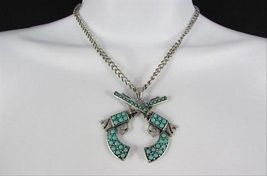 Other Women 16 Turquoise Beads Chains Necklace Western Metal Pistol Gun Pendant