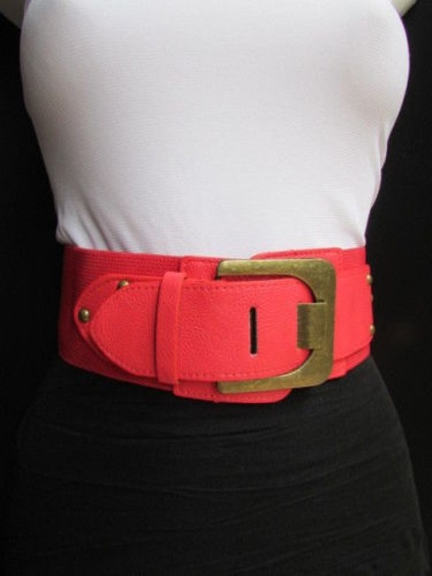 Alwaystyle4you Red Women High Waist Hip Coral Stretch Fashion Gold Buckle 23-30 Belt Alwaystyle4you Red Women High Waist Hip Coral Stretch Fashion Gold Buckle 23-30 Belt Image 1