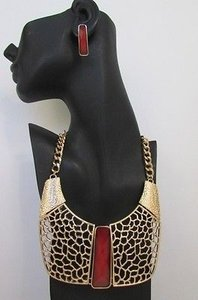 Women Long Red Bead Gold Metal Chains Necklace African Style Wide Pendant