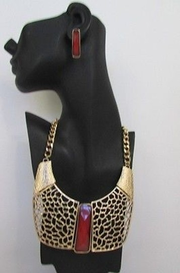 Other Women Long Red Bead Gold Metal Chains Necklace African Style Wide Pendant