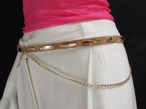 Other Women Belt Fashion Hip Waist Thin Beige Faux Leather Hip Gold Chains 31-38 M-l