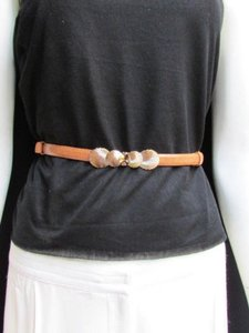 Other Women Belt Fashion High Waist Hip Brown Thin Gold Seashells 22-40