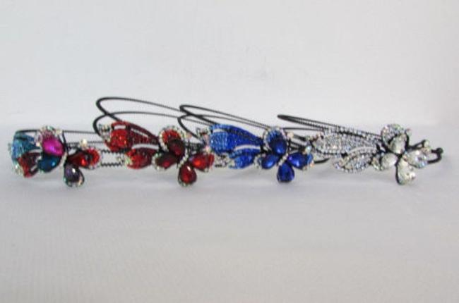 Alwaystyle4you Silver Red Blue Women Headband Flying Butterfly Multi Rhinestones Hair Accessory Alwaystyle4you Silver Red Blue Women Headband Flying Butterfly Multi Rhinestones Hair Accessory Image 1