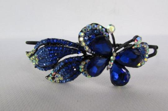 Other Women Fashion Headband Flying Butterfly Silver Red Blue Multi Rhinestones