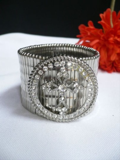 Other Women Bracelet Fashion Silver Elastic Metal Round Big Cross Rhinestones