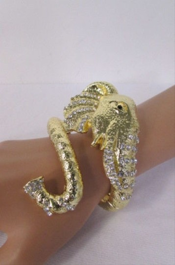 Other Women Bracelet Fashion Big Gold Metal Elephant Head Cuff Silver Rhinestones
