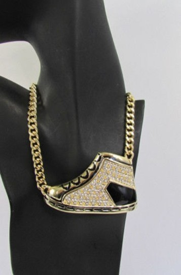 Other Women Gold Metal Chain Fashion Necklace Big Spiked Sneakers Shoe Pendant