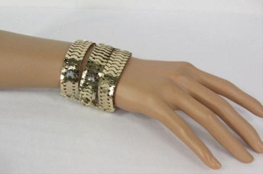 Other Women Bracelet Fashion Three Starnds Gold Metal Links Wide 7-10 Wrist