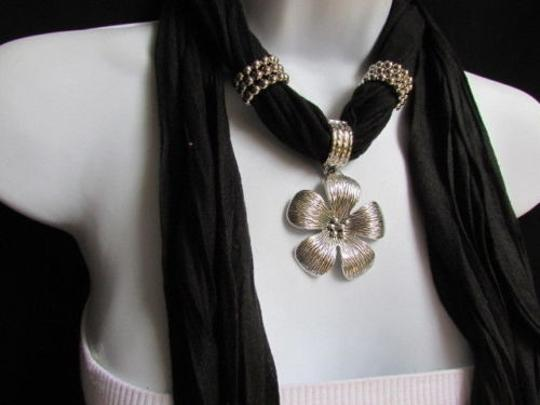 Other Women Necklace Fashion Black Soft Scarf Silver Flower Pendant Christmas Gift