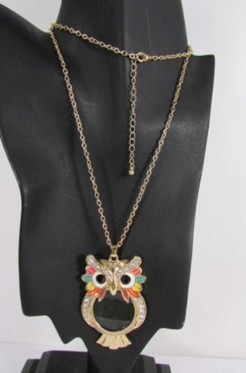 Other Women Long Fashion Necklace Gold Chains Multicolor Owl Magnifying Glass Pendant