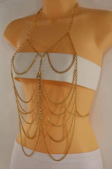 Other Women Gold Body Chain Fashion Jewelry Harness Bead Top Wave Bikini Long Necklace