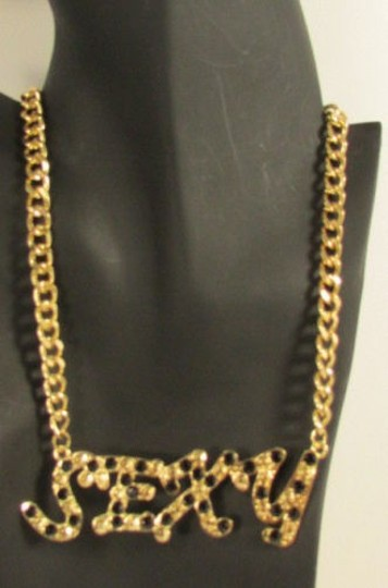 Other Women Necklace Fashion Gold Metal Chains Pendant Black Rhinestone16