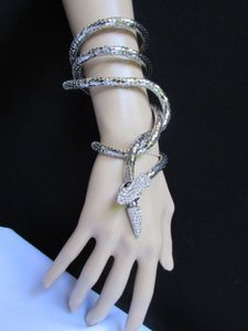 Women Necklace Fashion Silver Metal Bracelet Long Snake Silver Rhinestones