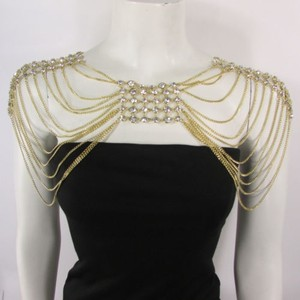 Women Necklace Gold Metal Chains Body Long Fashion Strands Rhinestones 20