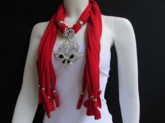 Other Women Soft Red Fabric Fashion Scarf Necklace Silver Flowers Butterfly Pendant