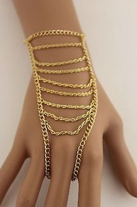 N. Women Gold Metal Strand Hand Harness Chain Fashion Bracelet Slave Ring Finger