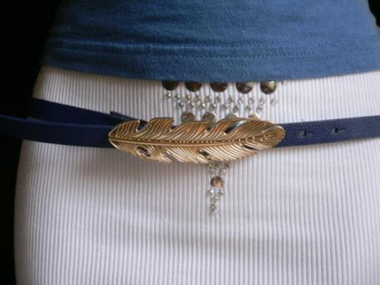 Other Women Belt Fashion Hip Waist Thin Navy Blue Gold Feather Buckles 34-39 Ml