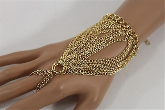 Other Women Gold Metal Hand Harness Chain Fashion Bracelet Slave Cuff Ring Finger